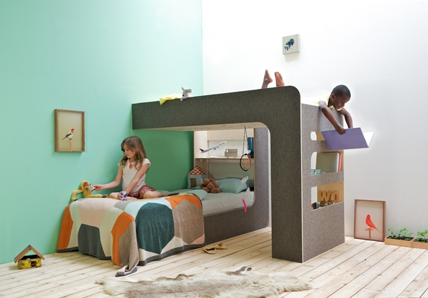 Arriba y abajo doble dormitorio infantil por thomas for Cama infantil doble con cajones