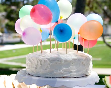tarta de cumpleaos con globos