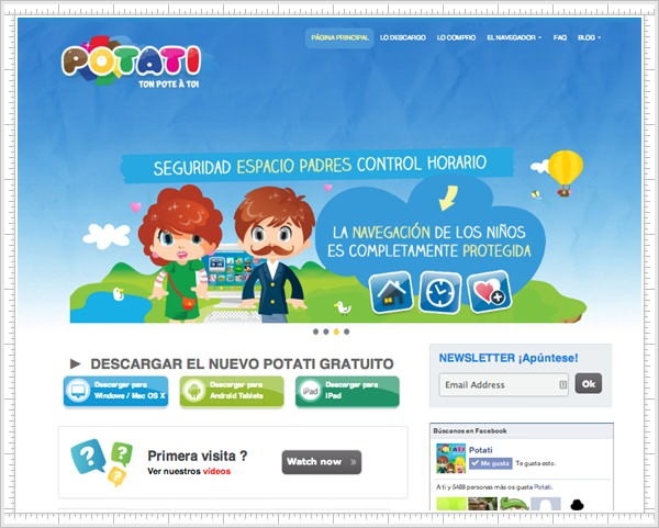 Potati, el navegador web para niños