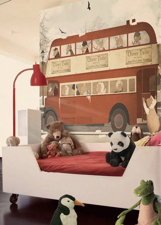 Mural infantil- Little Hands Wallpaper Mural - london bus flat 2