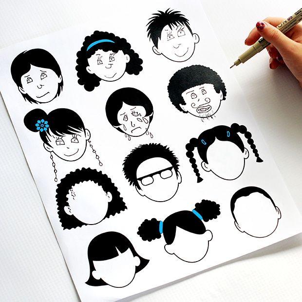 Robots, caras y monstruos. Dibujar, colorear e imprimir. | DecoPeques