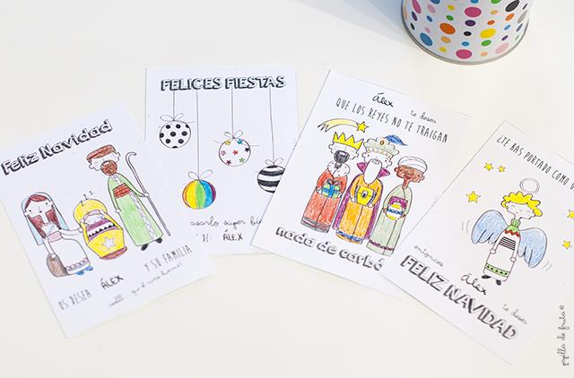 tarjetas de navidad para descargar y colorear