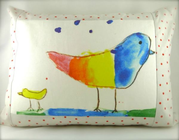Decorative Rainbow Bird Pillow by MiraJean Designs