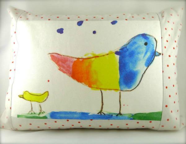 Decorative Rainbow Bird Pillow by MiraJean Designs