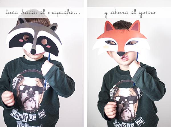 niño con  máscaras