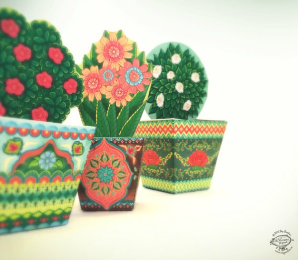 DIY Paper Toy Flower Pots - Sky Goodies