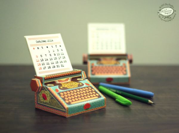 Printable Miniature Typewriter calendar - Sky Goodies
