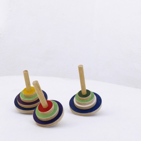 Set of 3 Wooden Spinning Tops by The Wandering Workshop