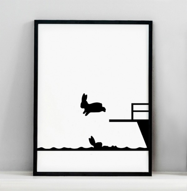 Diving Rabbit Screen Print by HAM