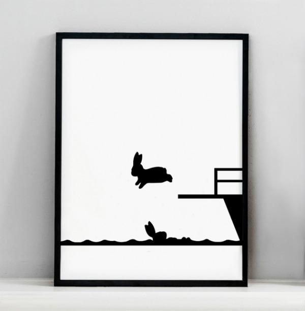 Diving Rabbit Screen Print by HAM