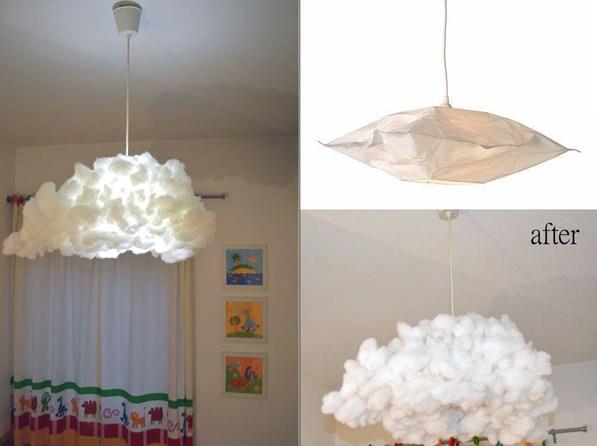 habitaciones infantiles diy-lampara-nube