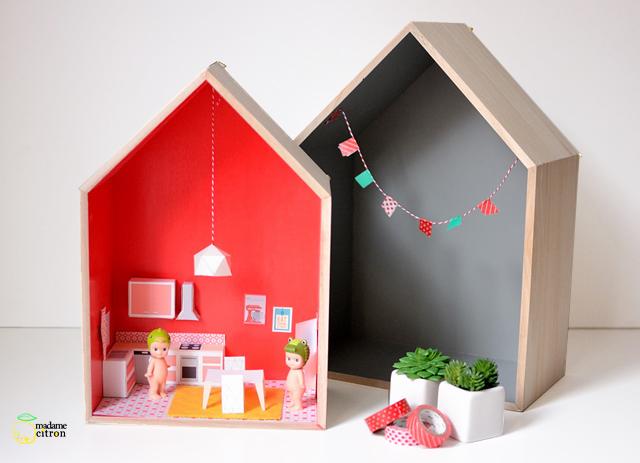 Muebles de papel descargables para sencillas casas de muñecas