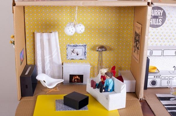 Una casita de mu ecas hecha a mano decopeques for Muebles de carton pdf