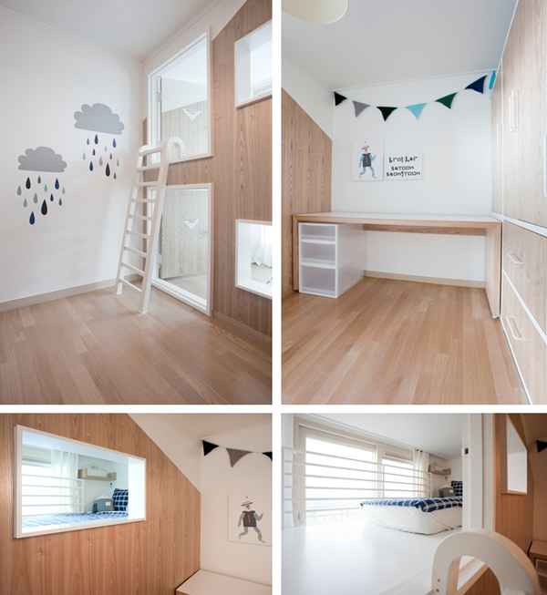 Casita de ensue o con dos dormitorios independientes - Dormitorio infantil blanco ...