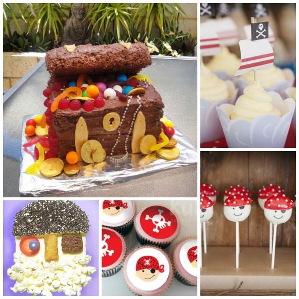 fiesta pirata decoración tarta cupcakes cumpleaños