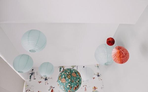 habitacion-niños-vintage-bolas-techo