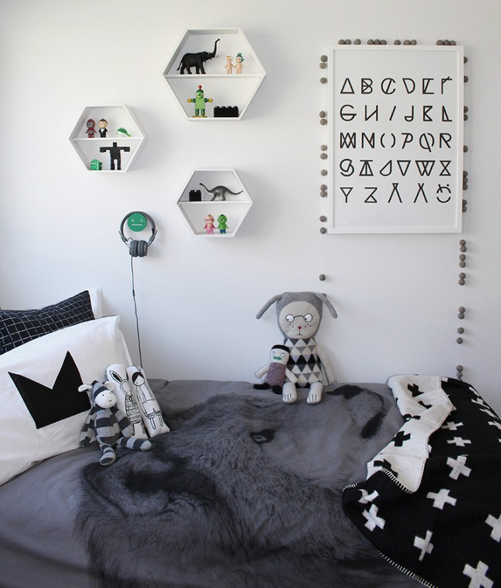 10 dormitorios infantiles ideales en tonos grises decopeques for Cuarto negro con blanco