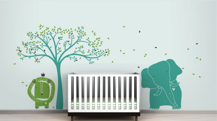 Vinilos infantiles de animales y rboles for Habitacion bebe con vinilos