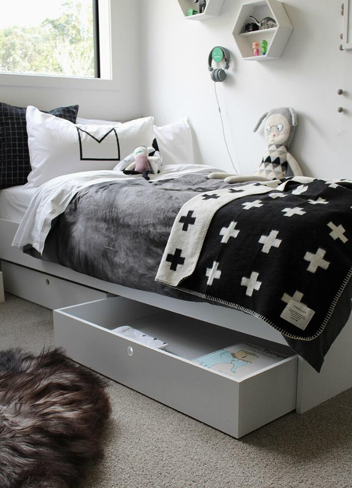 8 cuartos infantiles en blanco y negro decopeques for Dormitorio negro