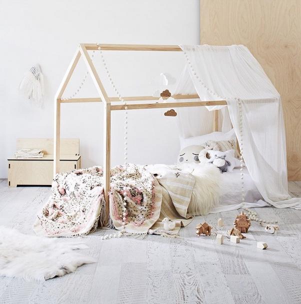 Casitas de madera para habitaciones de ni os - Lit au sol cabane ...