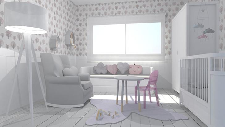 Habitación dulce rosa con toque nórdico
