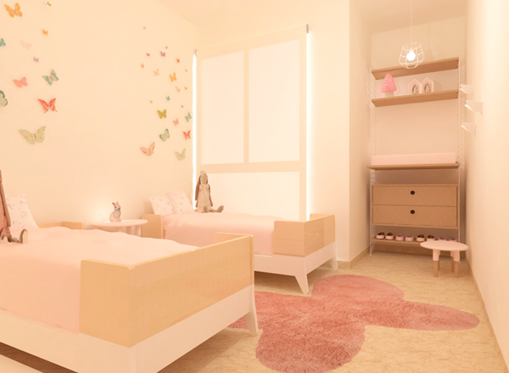 Habitación infantil rosa y mariposas toctocinfantil