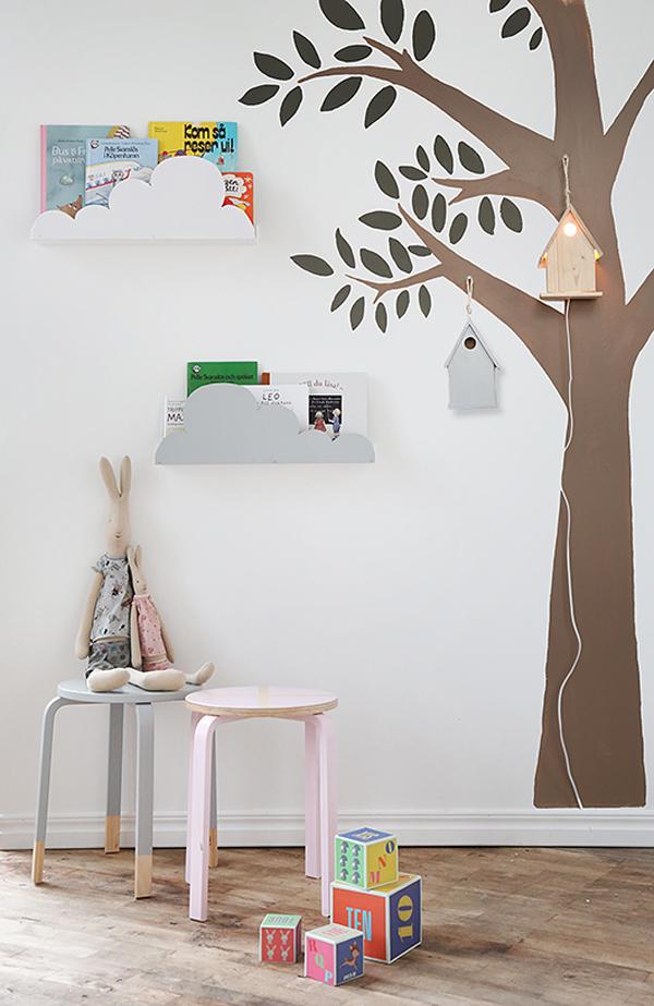 Ikea-hacks para niños, estanterías en forma de nubes