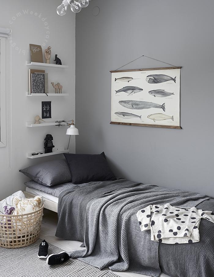 6 habitaciones para ni os en tonos grises for Cuarto gris con blanco