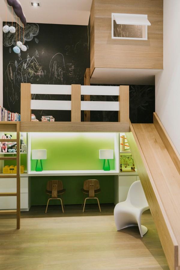 Dormitorio infantil de dise o con tobog n decopeques - Diseno de habitaciones infantiles ...
