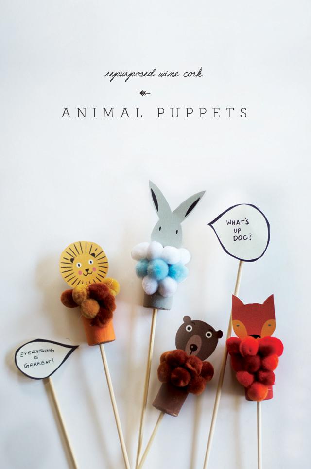 Preciosas Marionetas de animales con corchos de botellas