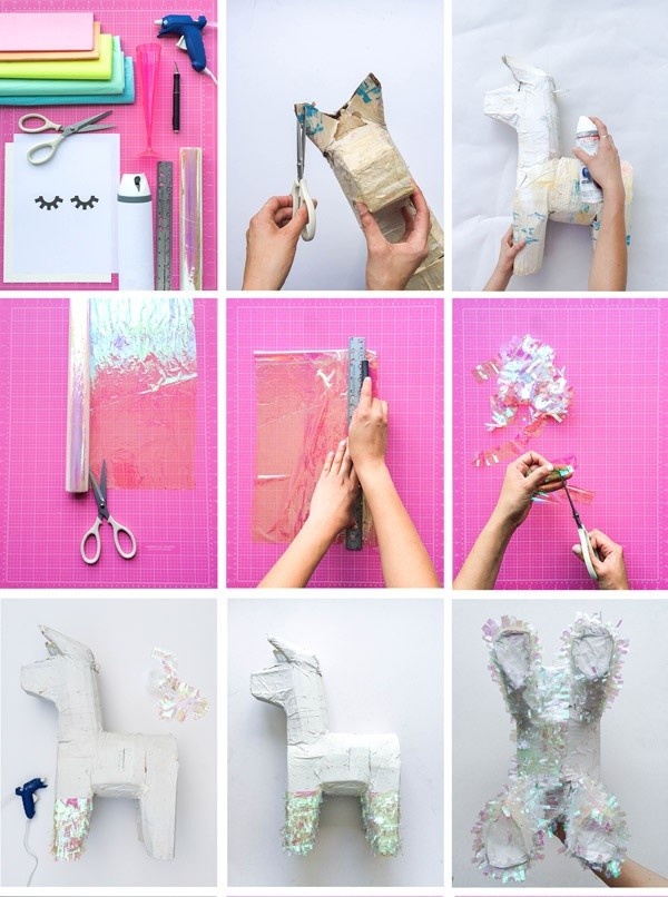 piñata de unicornio para decorar fiestas paso a paso