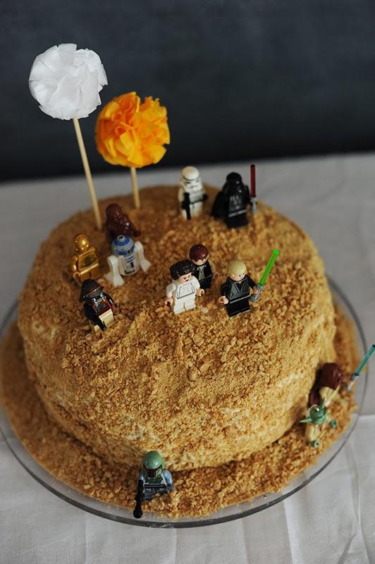 tarta de cumpleaños de star wars desierto dos soles