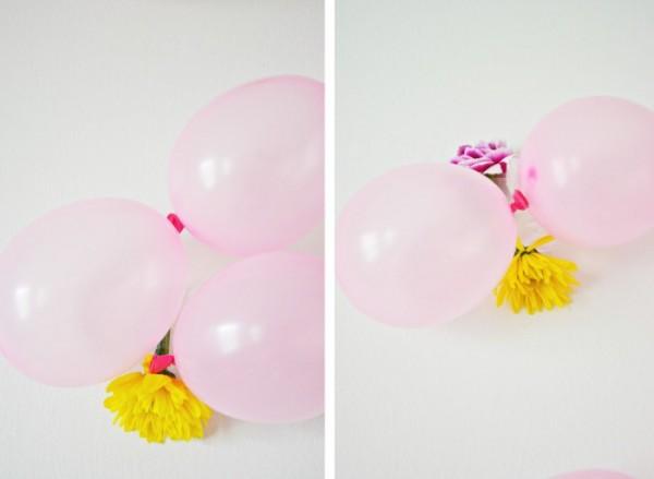 numeros para la pared con globos y flores poner las flores