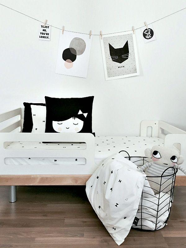 Habitaciones y Dormitorios infantiles en blanco y negro | DecoPeques