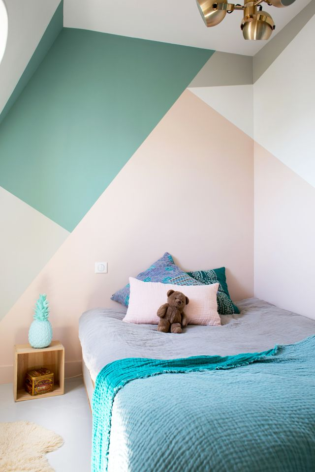 paredes geometricas pintura nios - Decoracion Paredes Habitacion
