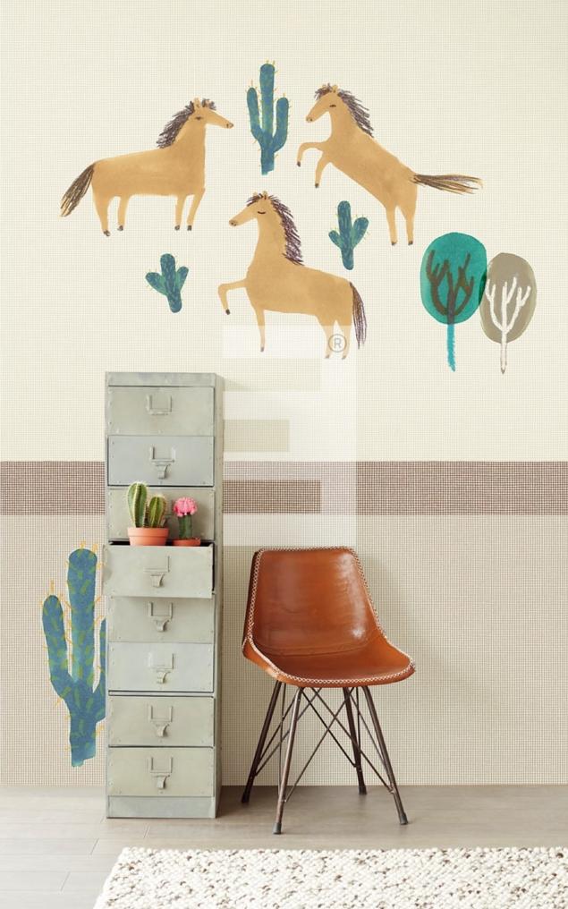 papel-pintado-infantil-caballos