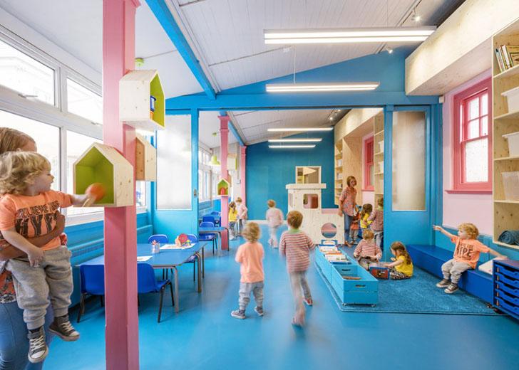 espacios cool para nios colegio renovado con intensos colores