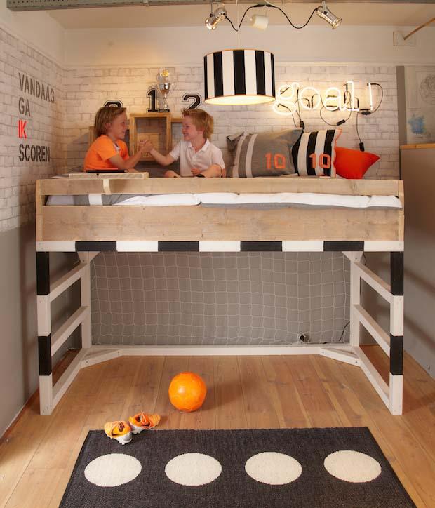 Cama infantil original para futboleros decopeques for Habitacion infantil original