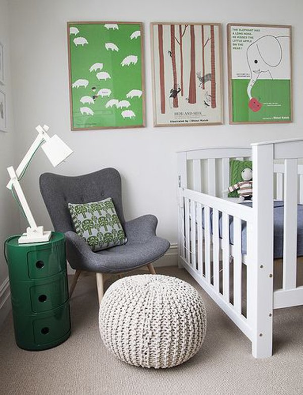 habitacion-bebe-cuadros-verdes