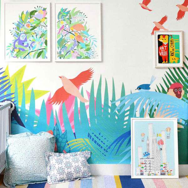 Nuevo papel pintado de little cabari decopeques - Papel pintado tropical ...