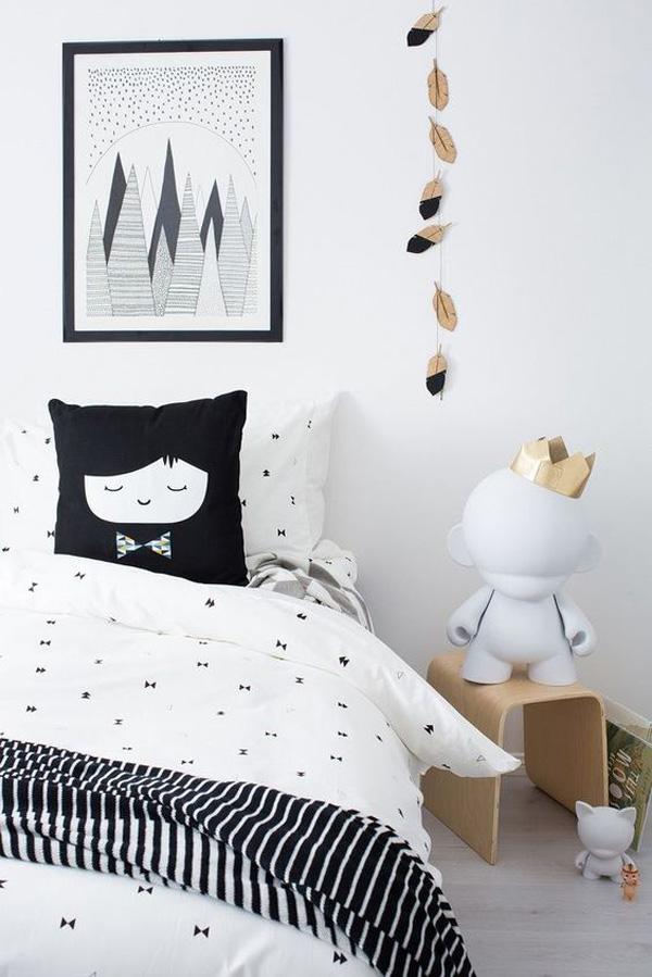 Inspiración en blanco y negro para el cuarto infantil