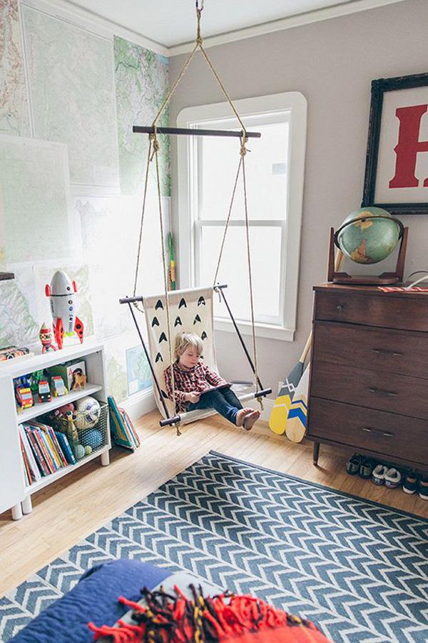 habitacion-infantil-con-columpio-de-tela