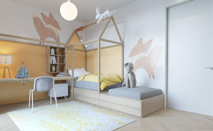 Habitación infantil de diseño inspirada en el mundo animal