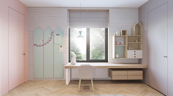 habitacion-infantil-diseño-tonos-pastel-escritorio