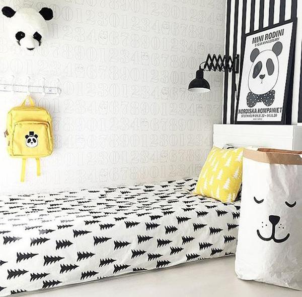 habitacion-infantil-blanco-y-negro-amarillo