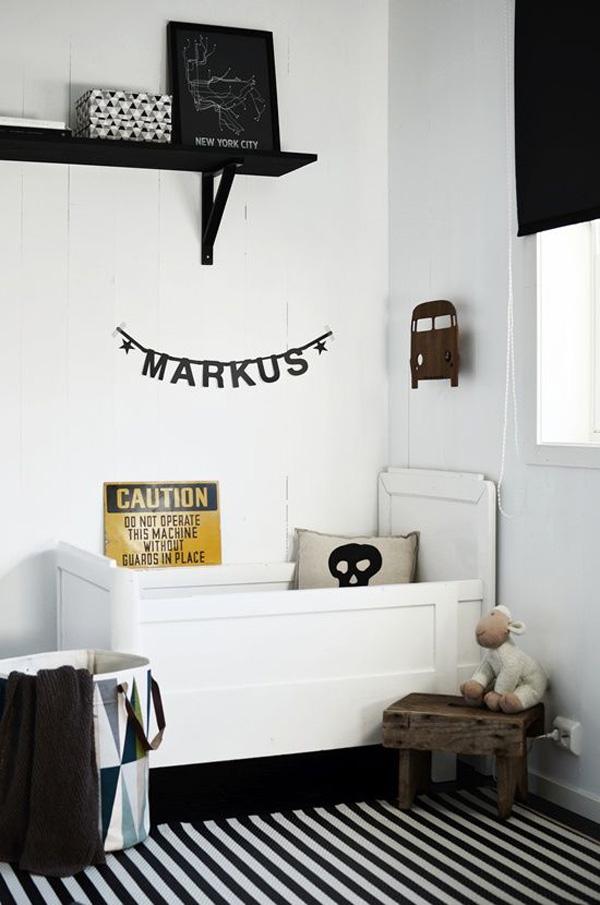 habitacion-infantil-blanco-y-negro-cama-madera
