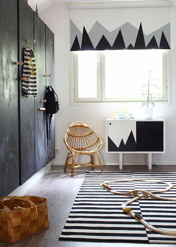 habitacion-infantil-blanco-y-negro-estampado-geometrico