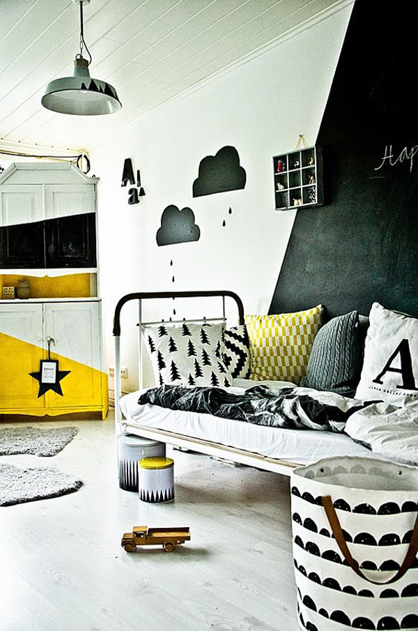 habitacion-infantil-blanco-y-negro-toques-amarillos