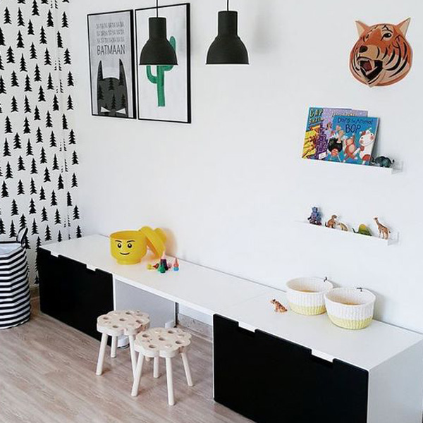 20 habitaciones infantiles en blanco y negro decopeques. Black Bedroom Furniture Sets. Home Design Ideas