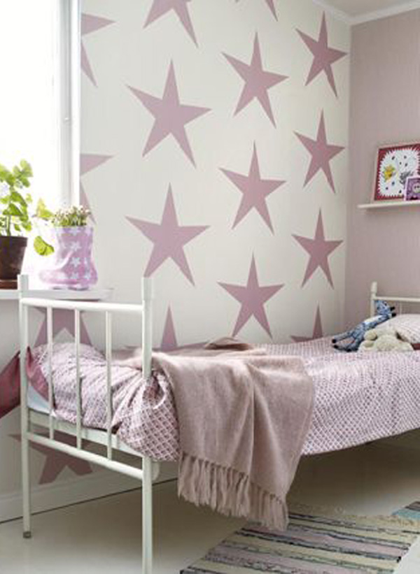 habitacion-infantil-nina-con-estrellas